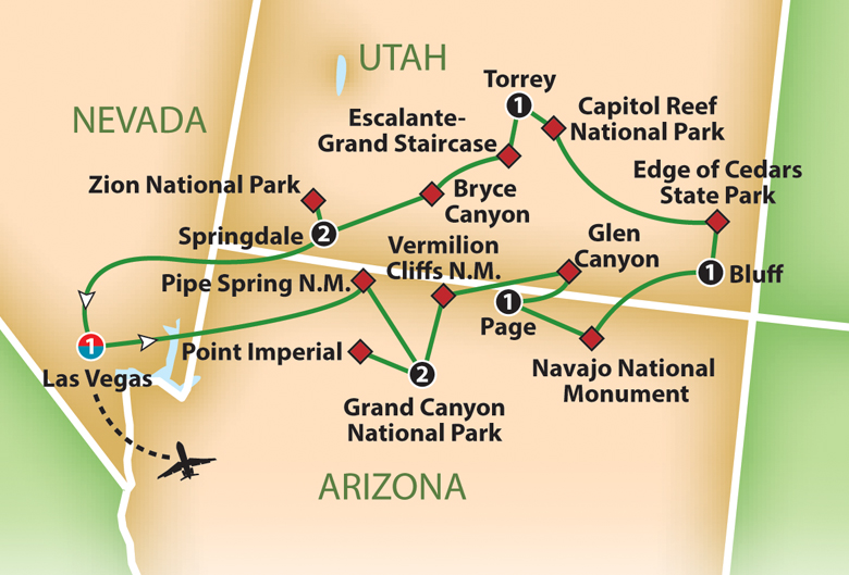 The Mighty Five Utah Map.Mayflower Cruises Tours Guided Holidays