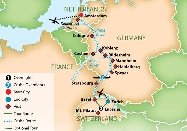 River Map Of Germany.Mayflower Cruises Tours Guided Holidays