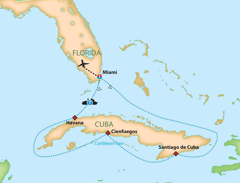 Cuba Florida Map.Mayflower Cruises Tours Guided Holidays