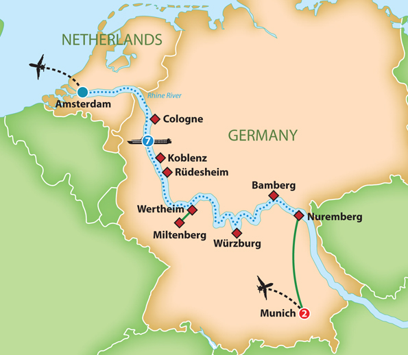 Rudesheim Germany Map.Mayflower Cruises Tours Guided Holidays